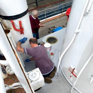 Neal continues to Chip and Paint Engineroom Casing