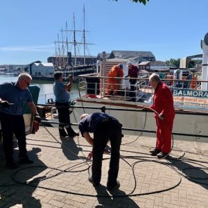 New mooring wires being loaded.